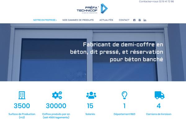 Capture d'écran du site Préfa-Technicof