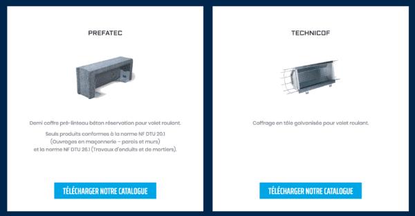 Capture d'écran du site Préfa-Technicof : gammes